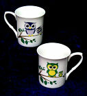 Bone China mug decorated with cute Mum and Baby owls design 2 colours to chose