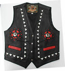 Cheap Classic Genuine Leather Concho Vest Waistcoat Red White Black Discontinued
