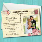 Personalised Wedding Thank You Cards *Vintage Postcard Pink