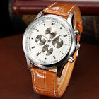 DALAS Fashion Silver Case Analog Quartz Leather Strap Sport Men Watch