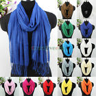 New Soft Cozy Cotton Long Tassel Long Scarf Shawl Bright Candy Soild 10 Colors
