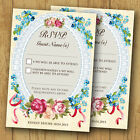 Personalised Wedding RSVP Reply Cards and Envelopes *Roses Lace Pink/Blue