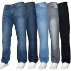 New Enzo Mens Straight Leg Jeans Regular Fit Denim Blue Pants All Waist Sizes