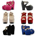 NEW WOMENS HIGH CUT OUT WEDGE PLATFORM PEEP TOE BUCKLE FASTENED STRAPPY SANDALS