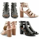 NEW DOLCIS LADIES WOODEN HIGH HEEL PEEP TOE GLADIATOR CUT OUT PARTY SANDALS SHOE