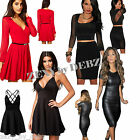 Ladies Dresses Black Red Skater Bodycon 2pce Faux Leather Celeb Sizes 10 12 14