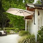 Outdoor Patio Cantilever Wall Mount Umbrella Sun Canopy (Grey or Ivory)