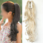 A+ Natural  Girls Clip in On Long Curly Wavy Ponytail Hair Extension Piece