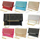BEIGE PINK RED BLUE WHITE Faux Leather Suede Diamante Envelope Evening Bag #296