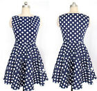 Celeb Women's Vintage Polka Dot Vogue New Party Evening Casual OL Pleated Dress