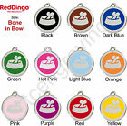 Red Dingo BONE IN BOWL Engraved Dog ID Pet Tag / Charm - Stainless Steel Enamel
