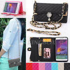 Bling Crystals Flower / PU Leather Handbag Wallet Cases For Various Cell Phones