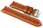 APWi Superb Tan 'Vintage' Leather with natural coloured stitching. 22, 24mm