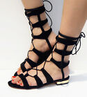 Womens Ladies Roman Suede Strap Mid Calf Flat Gladiator Lace Up Boots Sandals