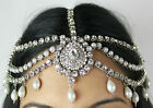 HANDMADE KUNDAN STONES & PEARL HAIR CHAIN HEADPIECE HEAD JEWELLERY MATHA PATTI