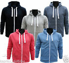 MENS HOODED SWEATSHIRT TOP ZIP UP PLAIN/MELANGE AMERICAN HOODY S - XL