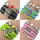 GOTHIC LADY TRIBAL BRAIDED LEATHER STRAP CHARMS HANDMADE COOL CUFF BRACELET BHCK