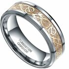 8mm Gold Celtic Dragon Inlayed Silver Tungsten Carbide Ring Unisex Wedding Band