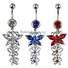 V1NF Three Crystal Butterflies Pendant Belly Navel Ring Body Piercing Jewelry