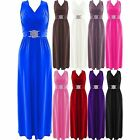 Womens Plus Size Buckle Waisted Tie Back Evening Long Maxi Party Dress 8-26 UK