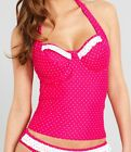 MIDNIGHT GRACE by FIGLEAVES ROSE UNDERWIRE HALTER TANKINI TOP PINK  SPOT BNWT