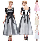 Vintage Lace Long Gown Evening Mother of the Bride Party Bridesmaid Formal Dress