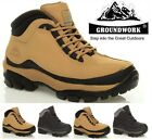 MENS SAFETY BOOTS LEATHER STEEL TOE CAPS ANKLE TRAINERS HIKING BOOTS SHOES SIZES