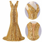 Charm SEXY V DESIGN Sequins Prom Bridal Ball Mermaid Formal Long Evening Dresses