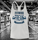 FITNESS FREAK - STRINGER VEST - GYM WORKOUT BODYBUILDING TANK TOP - Y BACK