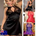 Womens Sexy Babydoll Plus Sz Lingerie size 8-18 Chemise Lace Satin Nightwear Hot