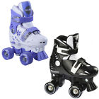 NEW ROOKIE ADJUSTABLE 2 BUCKLE CLOSER UNISEX JUNIOR HARD BOOT QUAD ROLLER SKATES