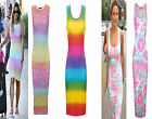 Womens Sam Faires Midi Dress Summer Rainbow Bodycon Stretch Leopard Print 8 14
