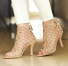 Ladies High Stilletos Peep toe Zippers Sandals Pull On Summer Cut Out Ankle Boot