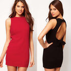 Elegant Women's OL Thick Hollowed Back Bow-Knot Cocktail Party Mini DATE Dresses