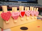 6pcs Wooden HEART Photo Message Note Memo Clip Paper Pegs