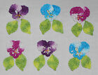 Hand Dyed Crochet Thread Small Beaded Applique Pansy/Flowers Pansies w Leaves