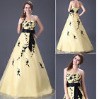 2014 Long Light Yellow Wedding dress Bridal Ball gown Prom Party Evening Formal