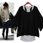Womens Oversized Top Blouse with Long Singlet Tank 2 Pcs T-Shirt AU SELLER T123