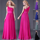 SALABLE Women Sexy One Shoulder Long Maxi Pleated Bridesmaid Wedding Prom Dress