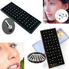 60x Crystal Rhinestone Nose Ring Bone Stud Stainless Steel Body Piercing Jewelry