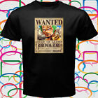 "New ONE PIECE ""ZORO WANTED"" Anime Manga Men's Black T-Shirt Size S to 3XL"