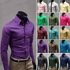 New Mens Luxury Slim Fit Stylish Casual Dress Shirt Tee Top 17Color 5size D3793