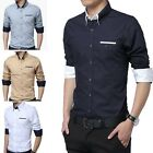 T214 New Fashion Men's Stylish Long Sleeve Casual Dress Slim Fit Shirts 4 Color
