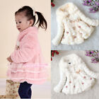 New Baby Girl Toddler Coat Kids Warm Princess Lace Clothes Pink White Champagne