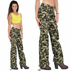 New Ladies Womens Army Green Camouflage Wide Combat Trousers Cargo Jeans Pants