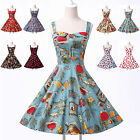 Vintage 50's Halter Dancing Dress Rockabilly Swing Pinup Retro Prom Party Cotton