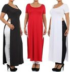 PLUS SIZE Short Sleeve Two/Double High Split Long Tee T-Shirt Dress Casual  Top