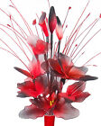 Red & Black Artificial Flowers - Nylon Flower Arrangement in Vase With Grass