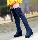 Women Sexy Faux Suede Soft Slouch Pull On Wedge Heeled Over The Knee Boots US SZ