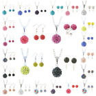 24color Silver Plated Chain Necklace/Hook Earrings Sets Disco Ball Crystal Party